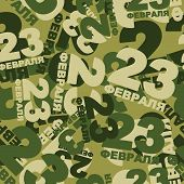 23 February protective pattern. Ornament for national holiday in Russia. Military green camouflage Texture. Text in Russian: 23 February poster