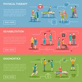 Physiotherapy horizontal banners set of diagnostics and rehabilitation center with medical staff patient and equipment flat vector illustration poster