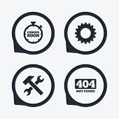 Coming soon icon. Repair service tool and gear symbols. Hammer with wrench signs. 404 Not found. Flat icon pointers. poster