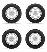 set icons car wheel tire from the disk vector illustration isolated on white background poster