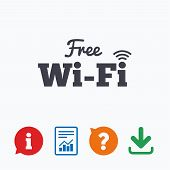 Free wifi sign. Wifi symbol. Wireless Network icon. Wifi zone. Information think bubble, question mark, download and report. poster