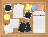 Bulletin board with photos and paper notes vector eps10 illustration poster