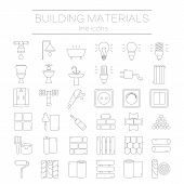 Big set of modern thin line icons building materials. Pictograms for DIY shop, construction and building materials. Vector illustration. poster