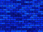 abstraction illustration background. artificial dark blue texture of bricks poster