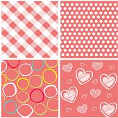 Seamless patterns with fabric texture and vector illustration poster