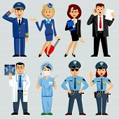 Men and women of different work professions and occupations: airlines, medicine, business, police. Vector Illustration poster