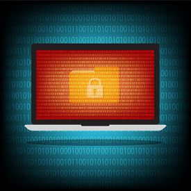 Laptop Computer Have Folder Locked Key With Ransomeware And Malware On Blue Binary Code Background.