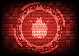 Red Of Ring And Gears With Malware Bug A Computer Virus Inside On Binary Code Background.vector Illu
