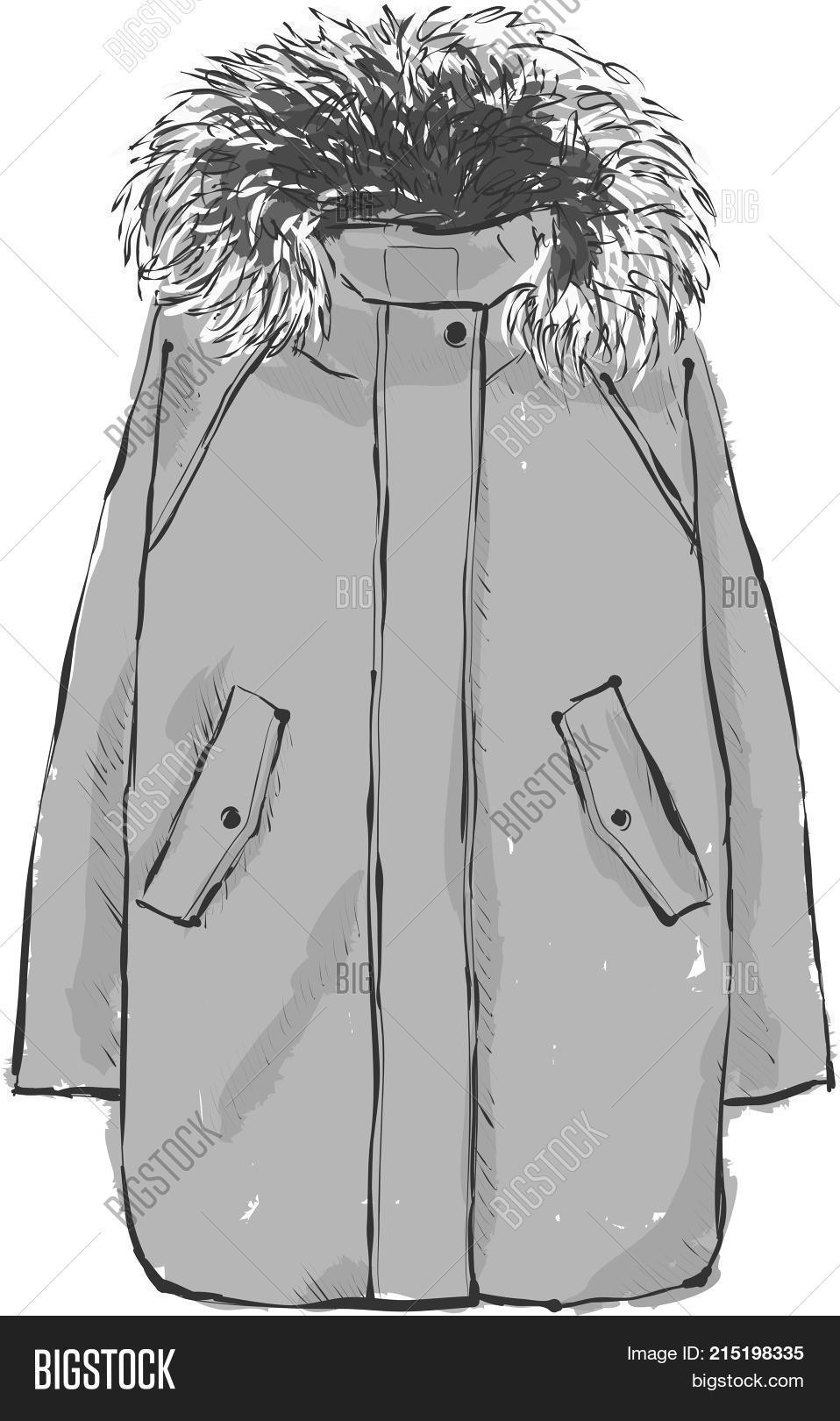 6173af57e75a New Year s warm gray parka jacket with fur. Winter collection of clothes.  Hand drawn vector illustration on a white background.