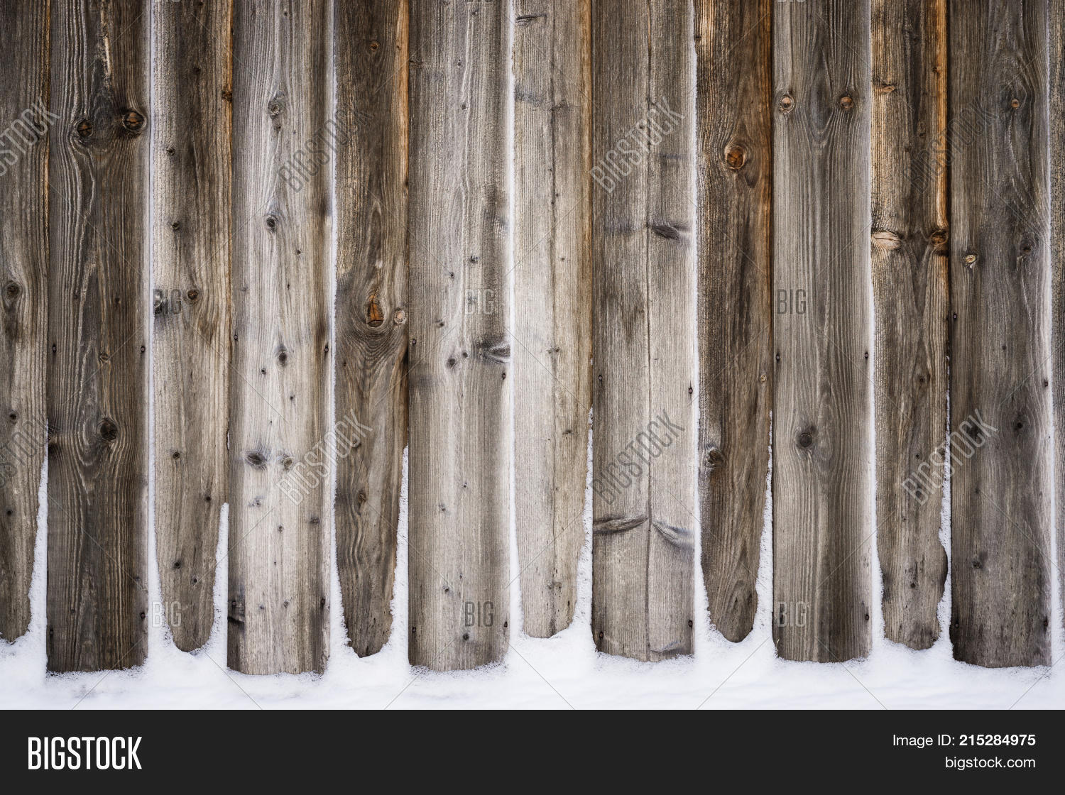 Old Vintage Wood Wall With Snow Winter And Christmas Background Planks Boards