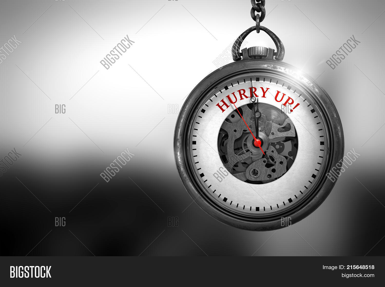 Vintage Pocket Watch With Hurry Up Text On The Face Business Concept