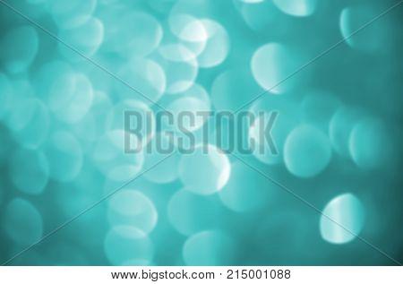 Stock Illustration - Defocused Aqua Light Circles, Bokeh Illustration, Vibrant Aqua Background.