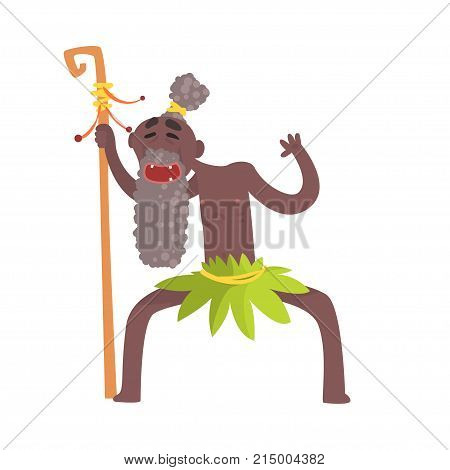 Cheerful black skinned old man aborigine. Indigenous peoples of African or Australian tribe. Greybeard in hula skirt of green palm leaves. artoon flat vector character with stick isolated on white.