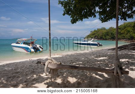 Swing hang from tree with speed boat .