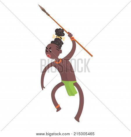 Aggressive black skinned man aboriginal. Warrior hunting with spear. Indigenous peoples of African or Australian tribe. Dressed in traditional green hula skirt. Flat vector character isolated on white.