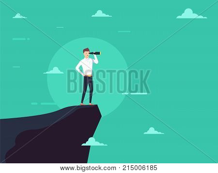 Vision concept in business with vector icon of businessman and telescope monocular. Symbol leadership strategy mission and objectives. Eps10 vector illustration.