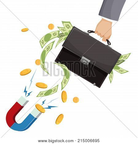 Leather suitcase full of paper money in mans hand and powerful magnet that attracts gold coins isolated cartoon flat vector illustration on white background.