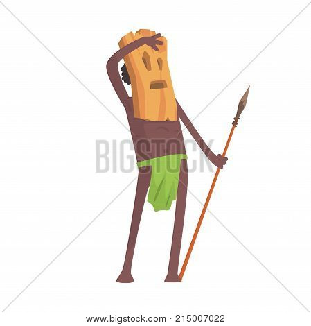 Black skinned man aborigine warrior stands with spear. Indigenous peoples of African or Australian tribe. Dressed in traditional hula skirt and wooden mask. Flat vector character isolated on white.