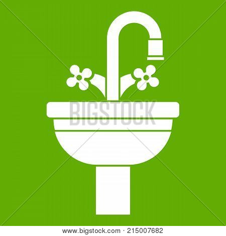 Ceramic sink icon white isolated on green background. Vector illustration