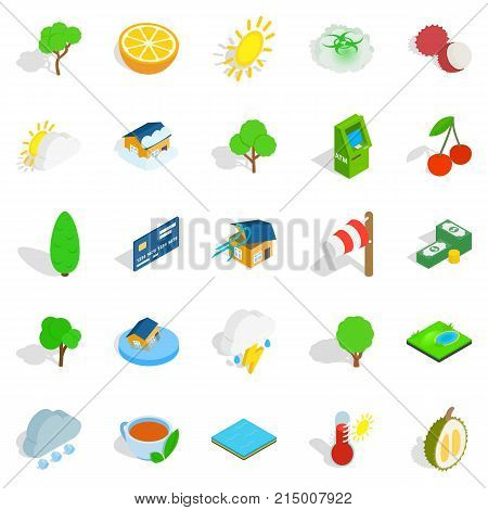 Life asserting icons set. Isometric set of 25 life asserting vector icons for web isolated on white background