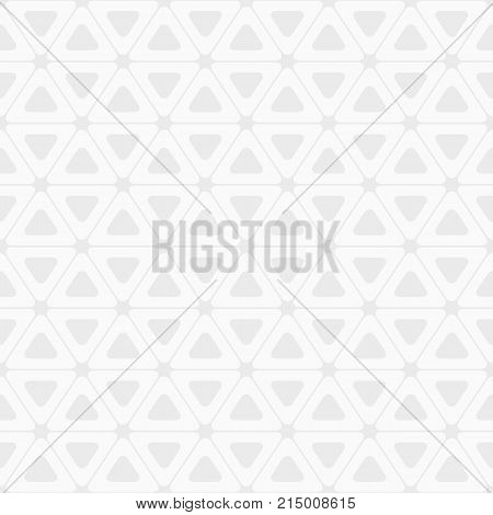 Vector seamless pattern. Triangles with rounded corners. White and gray geometric texture. Abstract background wallpaper print retro texture fashion design.