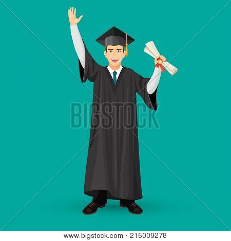 Degree graduate student in mantle gown holds graduation scroll in hand vector illustration isolated in cartoon style design, bachelor with diploma