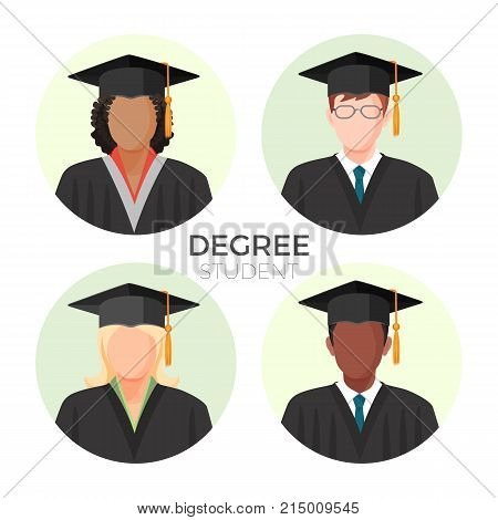 Degree student faceless avatars, males and female in mortarboard caps with tassels in mantle gowns vector illustration profiles set in round buttons