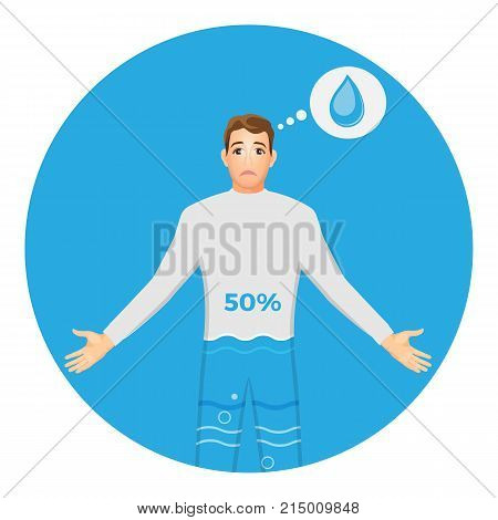 Human with high level of dehydration and sad face. Male character with 50 percent water contain in body isolated cartoon flat vector illustration on white background.