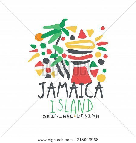 Exotic Caribbean Sea summer vacation colorful graphic design. Hand drawn template label. Travel to Jamaica. Tourism logo concept for agency or tour operator. Vector illustration isolated on white.