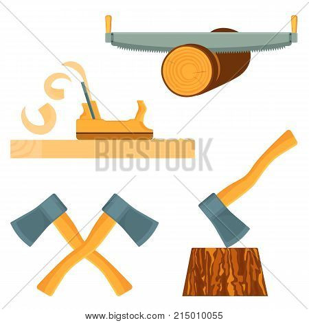 Hand-held equipment for forest destruction isolated cartoon flat vector illustrations set on white background. Long metal saw, sander tool and sharp axes.