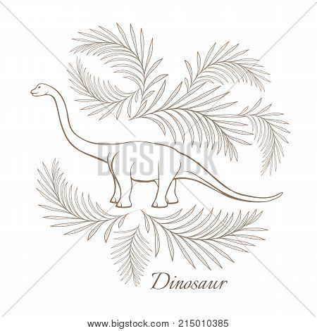 Huge herbivorous dinosaur surrounded with palm branches monochrome outline sketch. Barosaurus with long neck and tail isolated cartoon vector illustration.