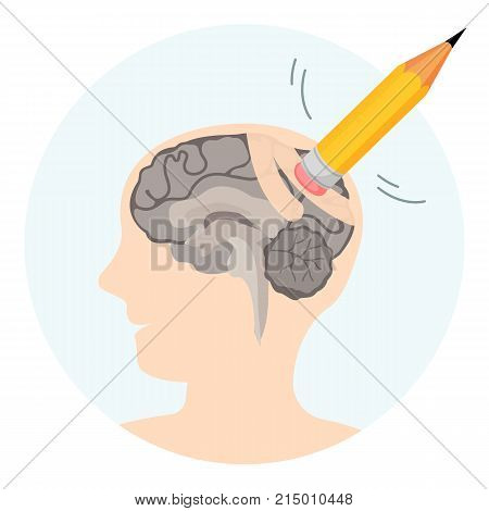 Brain damage abstract vector illustration with human profile silhouette and erasor on top of pencil isolated on white background. Mental disease of dementia.