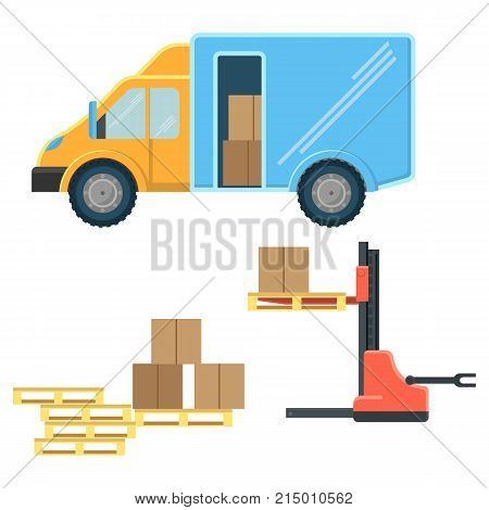 Delivery truck with postal packages and machine for cargo movement and wooden pallets isolated cartoon flat vector illustrations set on white background.