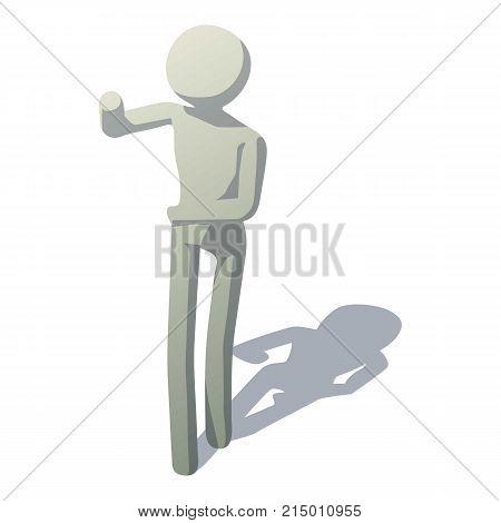 Stick man talking icon. Isometric illustration of stick man talking vector icon for web