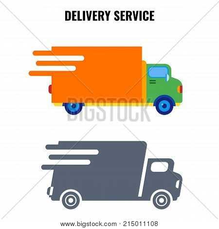 Delivery service, poster with quick vans of grey and orange color, moving to same destination and direction, vector logo design for transportation company
