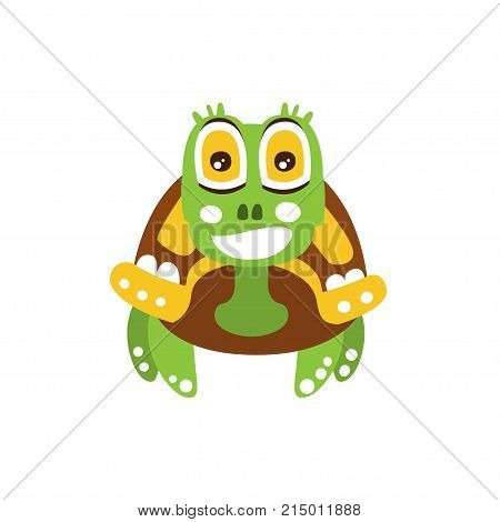 Happy green turtle with big shiny eyes isolated on white. Spotted shell colored in brown yellow. Marine animal of mediterranean sea. Cartoon reptile character front view. Kids flat vector illustration