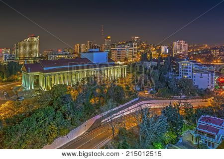 RUSSIA, SOCHI - MARCH 25, 2015: Night lights of Sochi. Theater Square at the Winter Theater.Sochi, Russia on March 25, 2015.