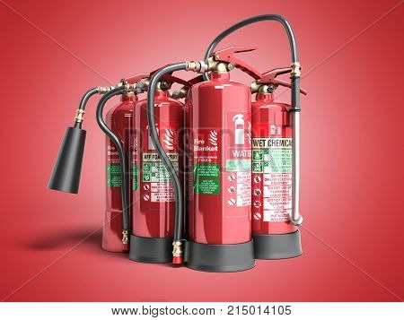 Fire Extinguishers Isolated On Red Background Various Types Of Extinguishers 3D Illustration