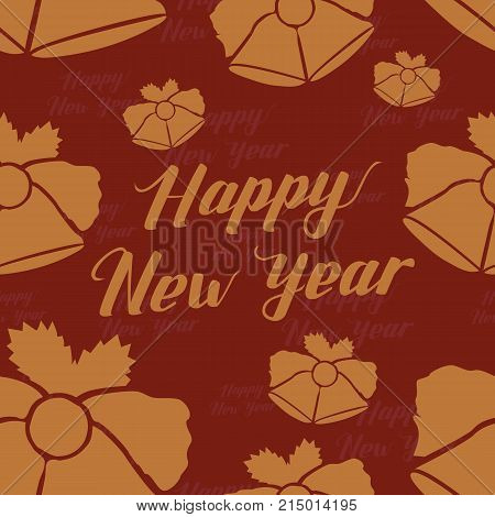 Happy New Year Seamless Hand Drawn Pattern with Lettering and Bells . Gold Vector Illustration on Red Background. Handwritten Inscription Backdrop for NY, Christmas Holiday Design, Sale, Invitation.