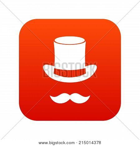 Magic black hat and mustache icon digital red for any design isolated on white vector illustration