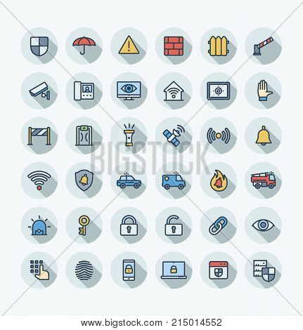 Vector thin line icons set, graphic design. Illustration with security, cyber safety outline symbols. Protection, brick wall, camera, video monitor, home lock, control access flat color pictogram
