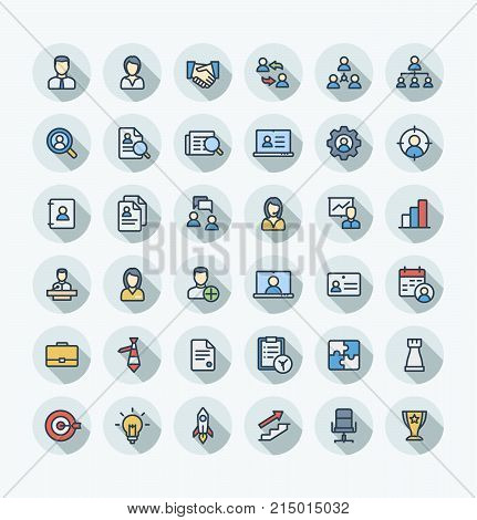 Vector thin line icons set and graphic design elements. Illustration with business and management outline symbols. Marketing research, strategy, work people, career, job interview flat color pictogram