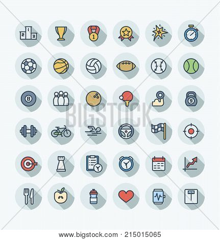Vector thin line icons set and graphic design elements. Illustration with sport and fitness outline symbols. Ball games, cup medal, award, football, volleyball, healthy food flat color pictograms.