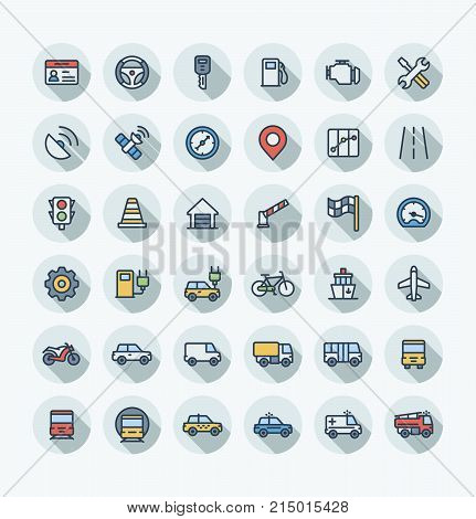 Vector thin line icons set and graphic design. Illustration with transport, navigation outline symbols. Driver license, wheel, gas station, road service, GPS, traffic light flat color pictogram