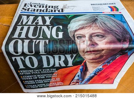 Newspapers Showing Theresa May, Hdr