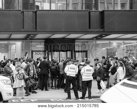 People Waiting For Corbyn In London Black And White