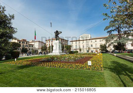 The Bronze Statue In Della Vittoria Square In Empoli