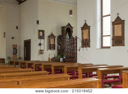 Sighisoara Romania October 08 2017 : Interior of the Roman Catholic Church - Citadel in the castle of old city. Sighisoara city in Romania