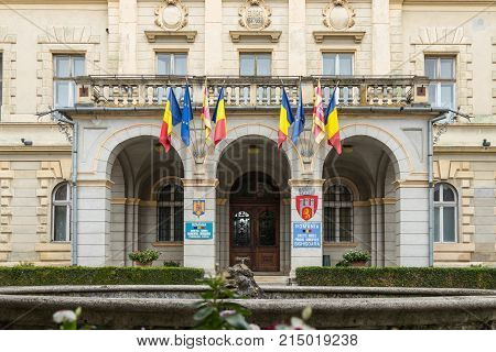 Sighisoara Romania October 08 2017 : Fragment of the City Hall building in the castle of old city. Sighisoara city in Romania