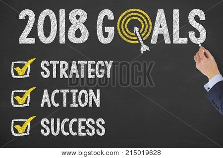 New Year 2018 Goals Check List on Chalkboard
